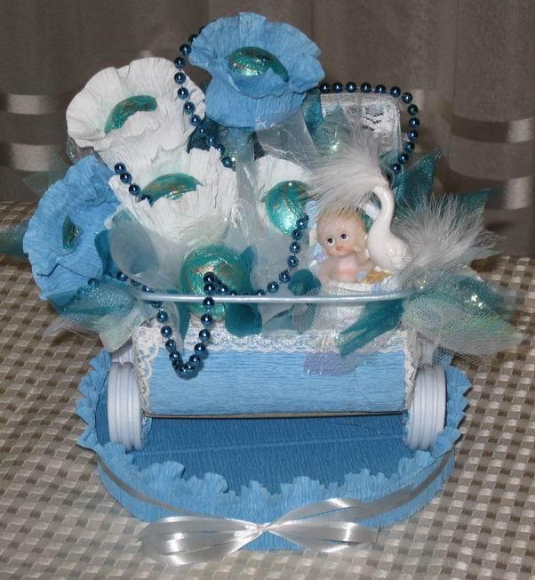 Подарки из конфет на рождение ребенка 662